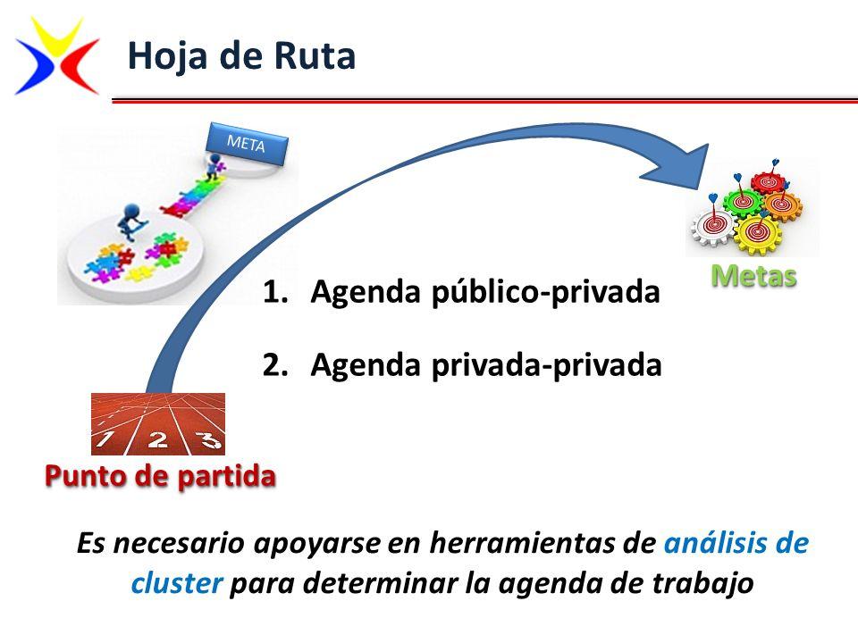 Hoja de Ruta Es necesario apoyarse en herramientas de análisis de cluster para determinar la agenda de trabajo MetasMetas Punto de partida META 1.Agen