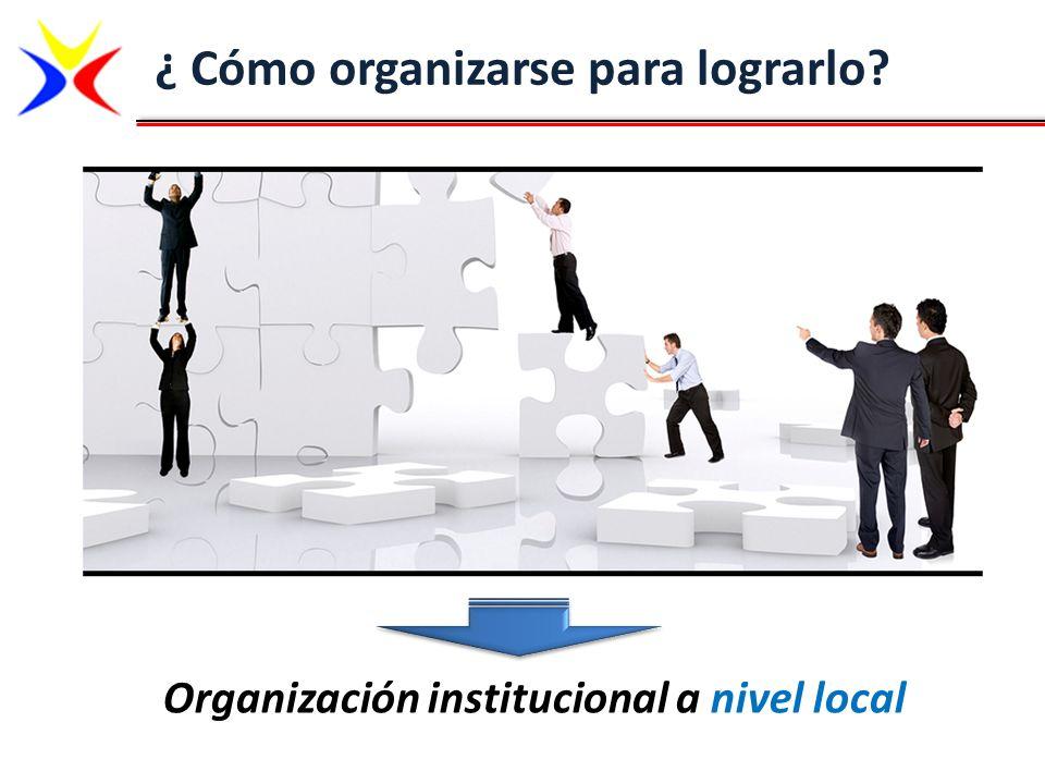 ¿ Cómo organizarse para lograrlo? Organización institucional a nivel local