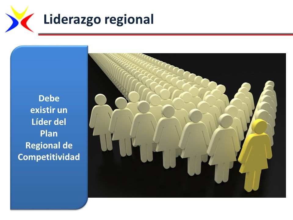 Liderazgo regional Debe existir un Líder del Plan Regional de Competitividad Debe existir un Líder del Plan Regional de Competitividad