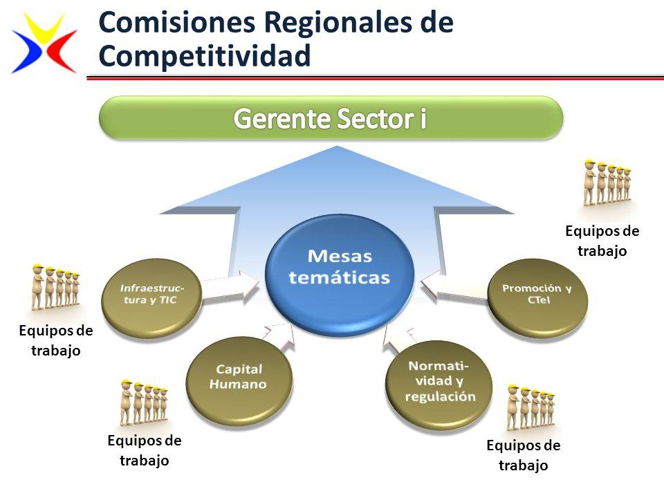 Comisiones Regionales de Competitividad Equipos de trabajo