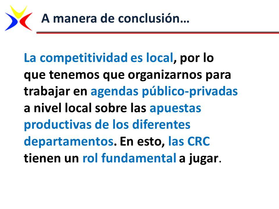 A manera de conclusión… La competitividad es local, por lo que tenemos que organizarnos para trabajar en agendas público-privadas a nivel local sobre
