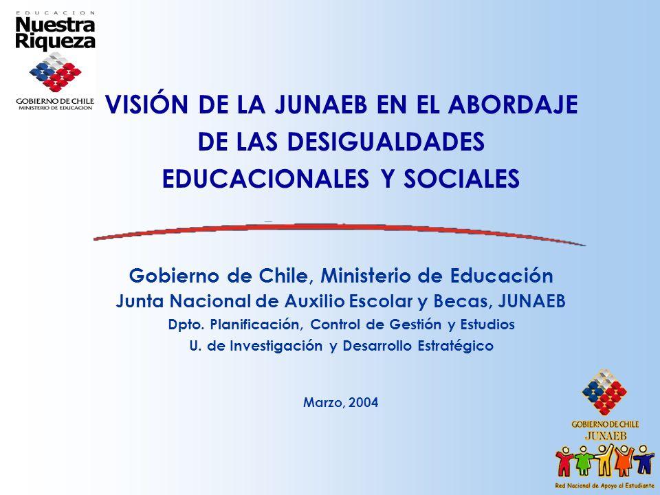 VISIÓN DE LA JUNAEB EN EL ABORDAJE DE LAS DESIGUALDADES EDUCACIONALES Y SOCIALES Gobierno de Chile, Ministerio de Educación Junta Nacional de Auxilio