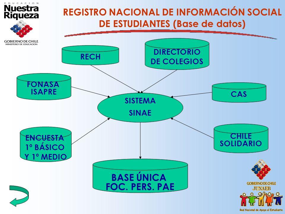 REGISTRO NACIONAL DE INFORMACIÓN SOCIAL DE ESTUDIANTES (Base de datos) FONASA ISAPRE RECH ENCUESTA 1º BÁSICO Y 1º MEDIO CAS BASE ÚNICA FOC. PERS. PAE