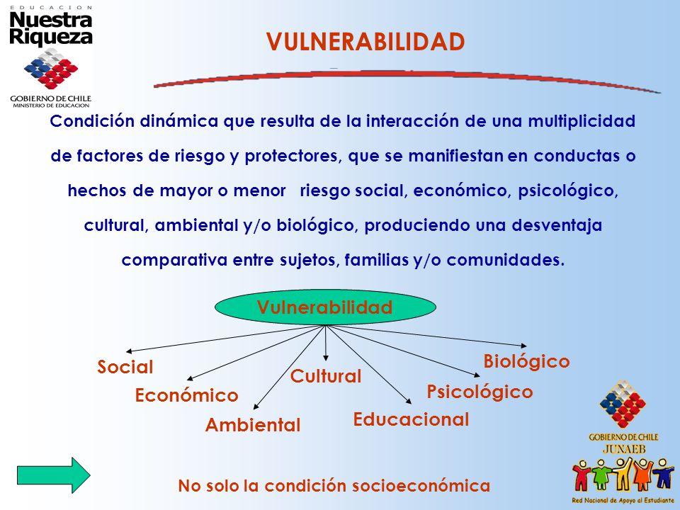 VULNERABILIDAD Condición dinámica que resulta de la interacción de una multiplicidad de factores de riesgo y protectores, que se manifiestan en conduc