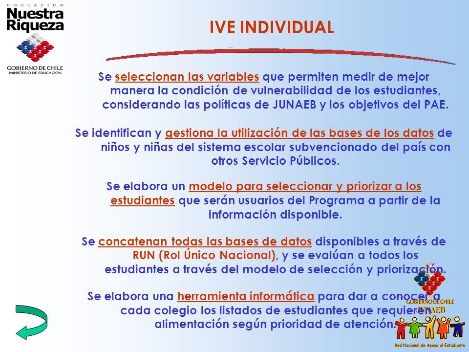 IVE INDIVIDUAL Se seleccionan las variables que permiten medir de mejor manera la condición de vulnerabilidad de los estudiantes, considerando las pol