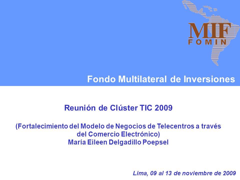 Fondo Multilateral de Inversiones Reunión de Clúster TIC 2009 (Fortalecimiento del Modelo de Negocios de Telecentros a través del Comercio Electrónico) María Eileen Delgadillo Poepsel Lima, 09 al 13 de noviembre de 2009