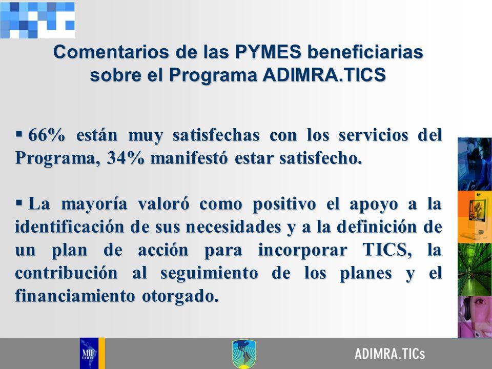 Comentarios de las PYMES beneficiarias sobre el Programa ADIMRA.TICS 66% están muy satisfechas con los servicios del Programa, 34% manifestó estar sat