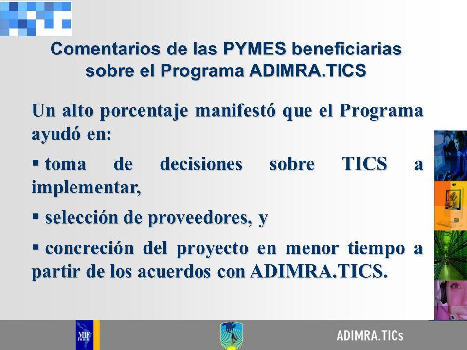 Comentarios de las PYMES beneficiarias sobre el Programa ADIMRA.TICS Un alto porcentaje manifestó que el Programa ayudó en: toma de decisiones sobre T