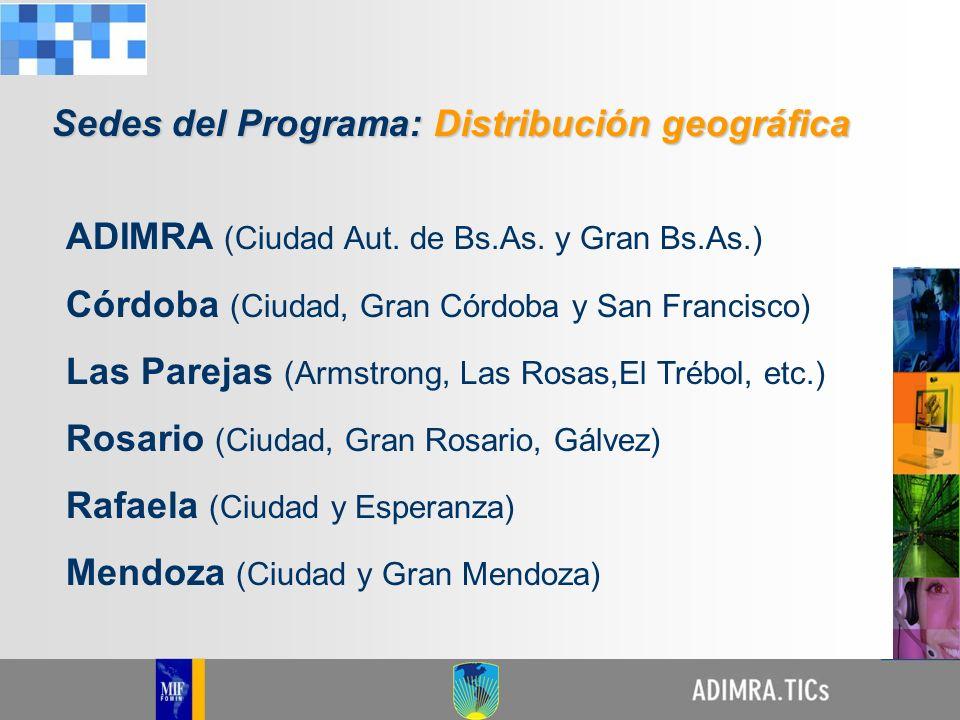 ADIMRA (Ciudad Aut. de Bs.As. y Gran Bs.As.) Córdoba (Ciudad, Gran Córdoba y San Francisco) Las Parejas (Armstrong, Las Rosas,El Trébol, etc.) Rosario