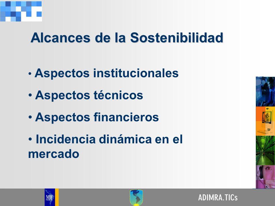 Aspectos institucionales Aspectos técnicos Aspectos financieros Incidencia dinámica en el mercado Alcances de la Sostenibilidad