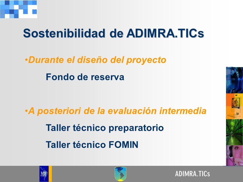 Durante el diseño del proyecto Fondo de reserva A posteriori de la evaluación intermedia Taller técnico preparatorio Taller técnico FOMIN Sostenibilid