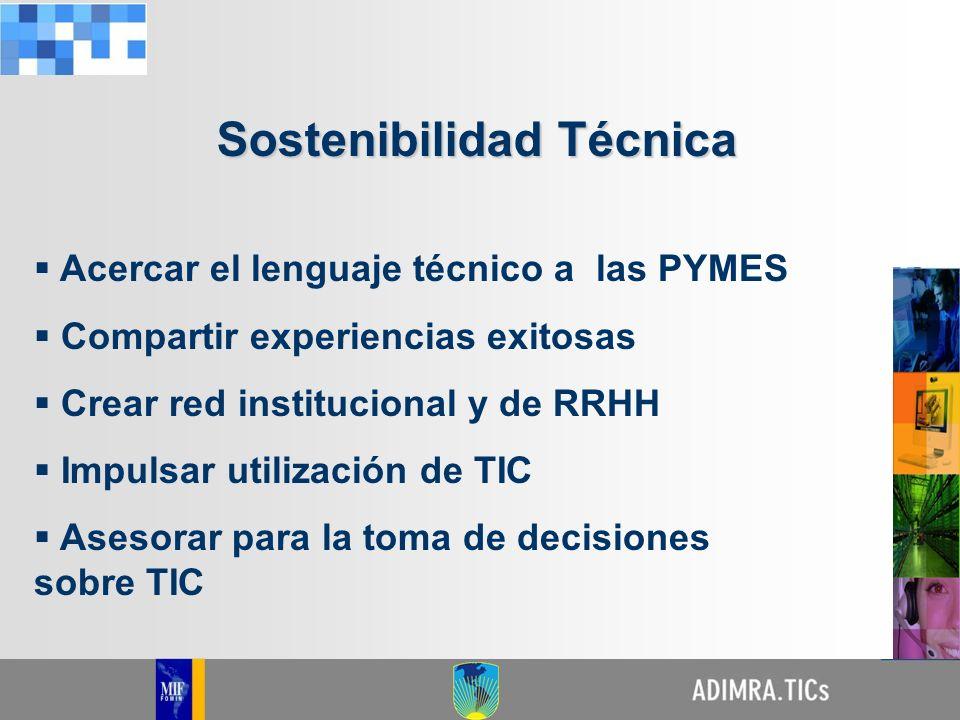 Generar planes institucionales que se complementen con planes gubernamentales Lograr apoyo del FOMIN para soluciones TIC que permitan impulsar tecnologías para evitar desahorros en las empresas Promover Cluster TIC por subsectores con aporte de programas gubernamentales Sostenibilidad Técnica