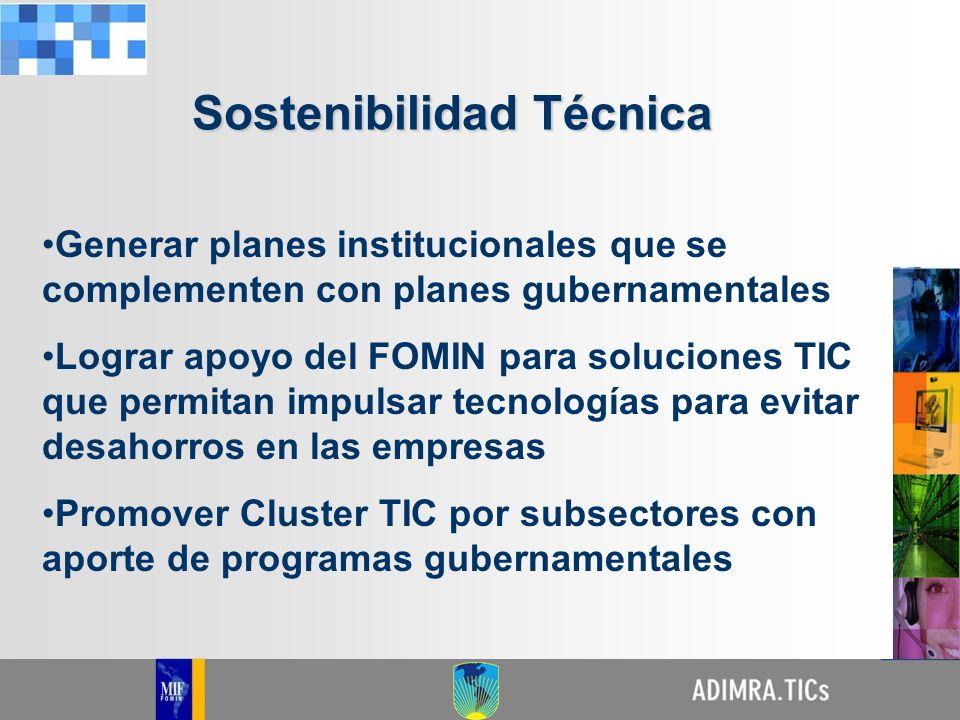 Generar planes institucionales que se complementen con planes gubernamentales Lograr apoyo del FOMIN para soluciones TIC que permitan impulsar tecnolo