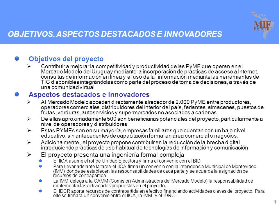 1 Objetivos del proyecto Contribuir a mejorar la competitividad y productividad de las PyME que operan en el Mercado Modelo del Uruguay mediante la incorporación de prácticas de acceso a Internet, consultas de información en línea y el uso de la información mediante las herramientas de TIC disponibles integrándolas como parte del proceso de toma de decisiones, a través de una comunidad virtual Aspectos destacados e innovadores Al Mercado Modelo acceden directamente alrededor de 2.000 PyME entre productores, operadores comerciales, distribuidores del interior del país, feriantes, almacenes, puestos de frutas, verduras, autoservicios y supermercados no asociados a cadenas.