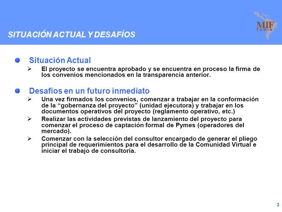 2 Si bien el proyecto aun no está formalmente en ejecución (el convenio está aprobado a punto de ser firmado entre las partes) se pueden destacar algunos puntos que harán a la futura implementación: Se ha consolidado un equipo de trabajo comprometido entre la CAMM (Comision Administradora del Mercado Modelo) y la oficina del IICA en Uruguay El proyecto cuenta con respaldo expreso de organismos nacionales e internacionales como ser: Ministerio de Agricultura y Pesca Intendencia Municipal de Montevideo FLAMA (Federación Latinoamericana de Mercados de Alimentos) El equipo de la CAMM ha estado trabajando en la sensibilización de los operadores del Mercado Modelo para ir captando su interés en participar del proyecto piloto.