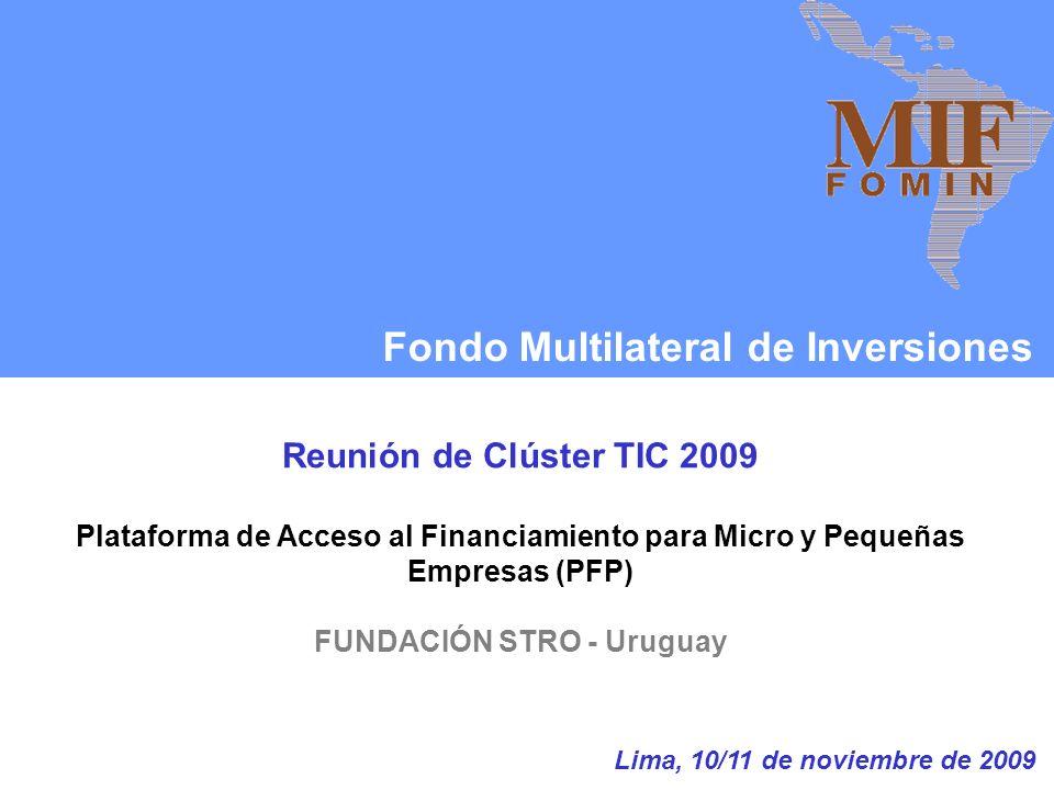 Fondo Multilateral de Inversiones Reunión de Clúster TIC 2009 Plataforma de Acceso al Financiamiento para Micro y Pequeñas Empresas (PFP) FUNDACIÓN STRO - Uruguay Lima, 10/11 de noviembre de 2009