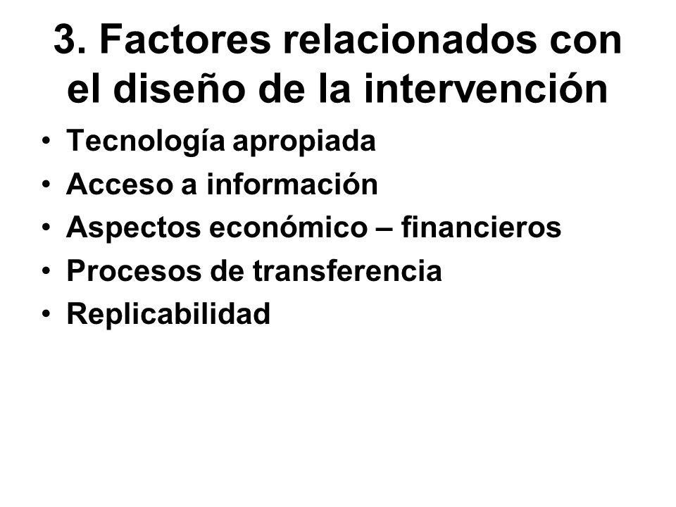 3. Factores relacionados con el diseño de la intervención Tecnología apropiada Acceso a información Aspectos económico – financieros Procesos de trans