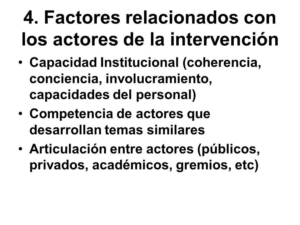 4. Factores relacionados con los actores de la intervención Capacidad Institucional (coherencia, conciencia, involucramiento, capacidades del personal