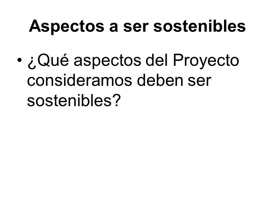 Aspectos a ser sostenibles ¿Qué aspectos del Proyecto consideramos deben ser sostenibles?
