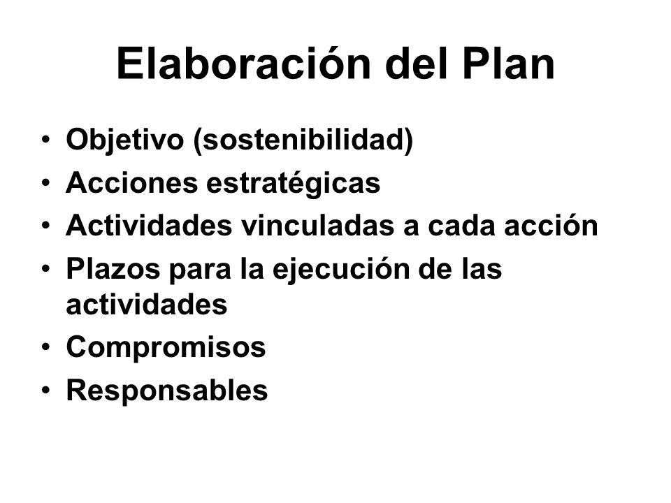 Elaboración del Plan Objetivo (sostenibilidad) Acciones estratégicas Actividades vinculadas a cada acción Plazos para la ejecución de las actividades Compromisos Responsables