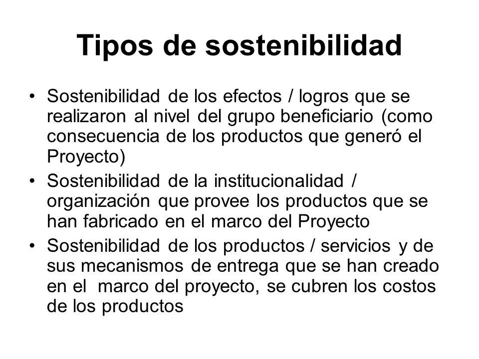 Tipos de sostenibilidad Sostenibilidad de los efectos / logros que se realizaron al nivel del grupo beneficiario (como consecuencia de los productos que generó el Proyecto) Sostenibilidad de la institucionalidad / organización que provee los productos que se han fabricado en el marco del Proyecto Sostenibilidad de los productos / servicios y de sus mecanismos de entrega que se han creado en el marco del proyecto, se cubren los costos de los productos