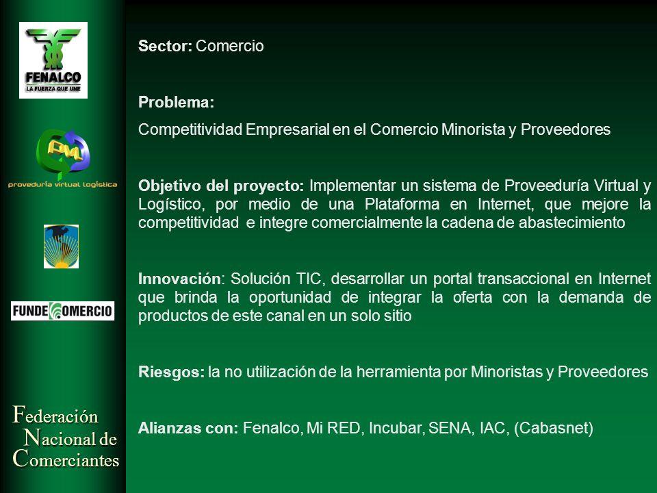 F ederación N acional de C omerciantes Sector: Comercio Problema: Competitividad Empresarial en el Comercio Minorista y Proveedores Objetivo del proye