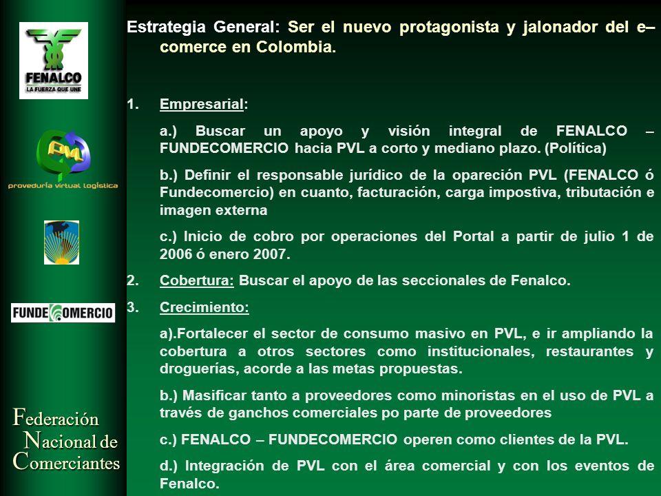 F ederación N acional de C omerciantes Estrategia General: Ser el nuevo protagonista y jalonador del e– comerce en Colombia. 1.Empresarial: a.) Buscar