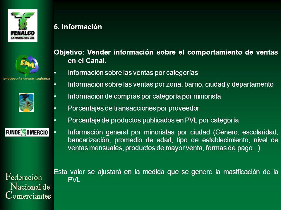 F ederación N acional de C omerciantes 5. Información Objetivo: Vender información sobre el comportamiento de ventas en el Canal. Información sobre la