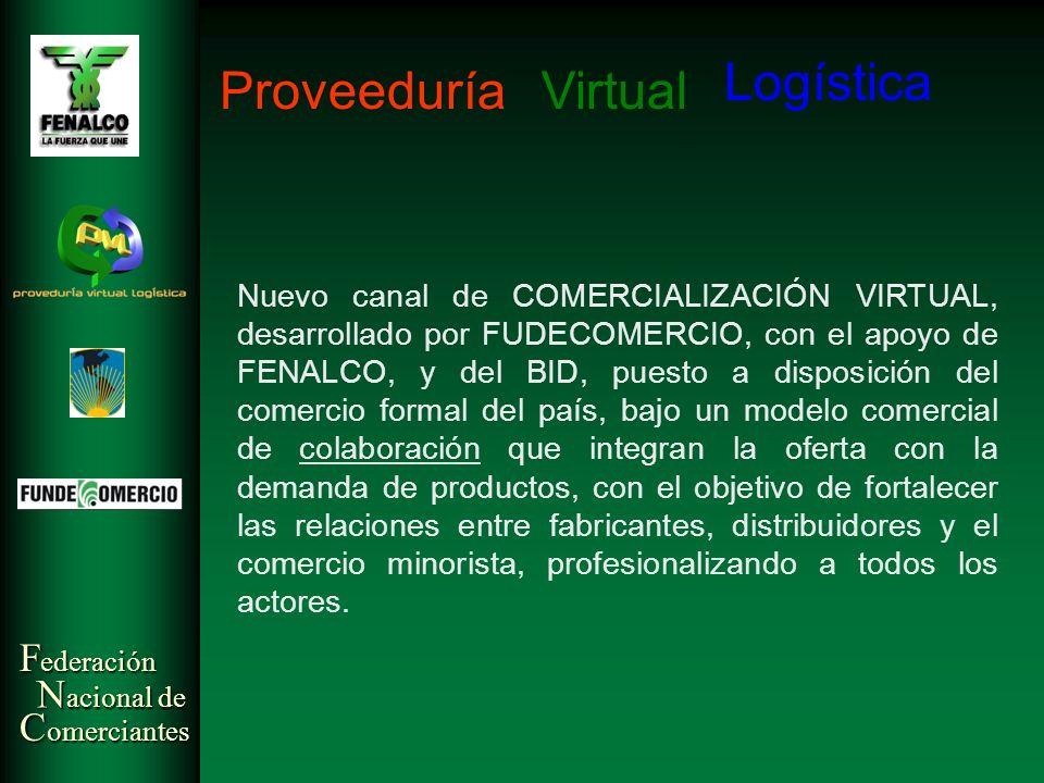F ederación N acional de C omerciantes Virtual Logística Proveeduría Nuevo canal de COMERCIALIZACIÓN VIRTUAL, desarrollado por FUDECOMERCIO, con el ap
