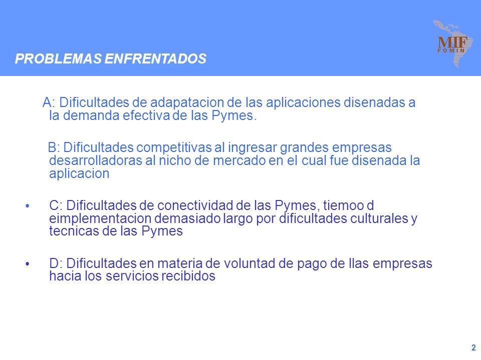 2 A: Dificultades de adapatacion de las aplicaciones disenadas a la demanda efectiva de las Pymes.