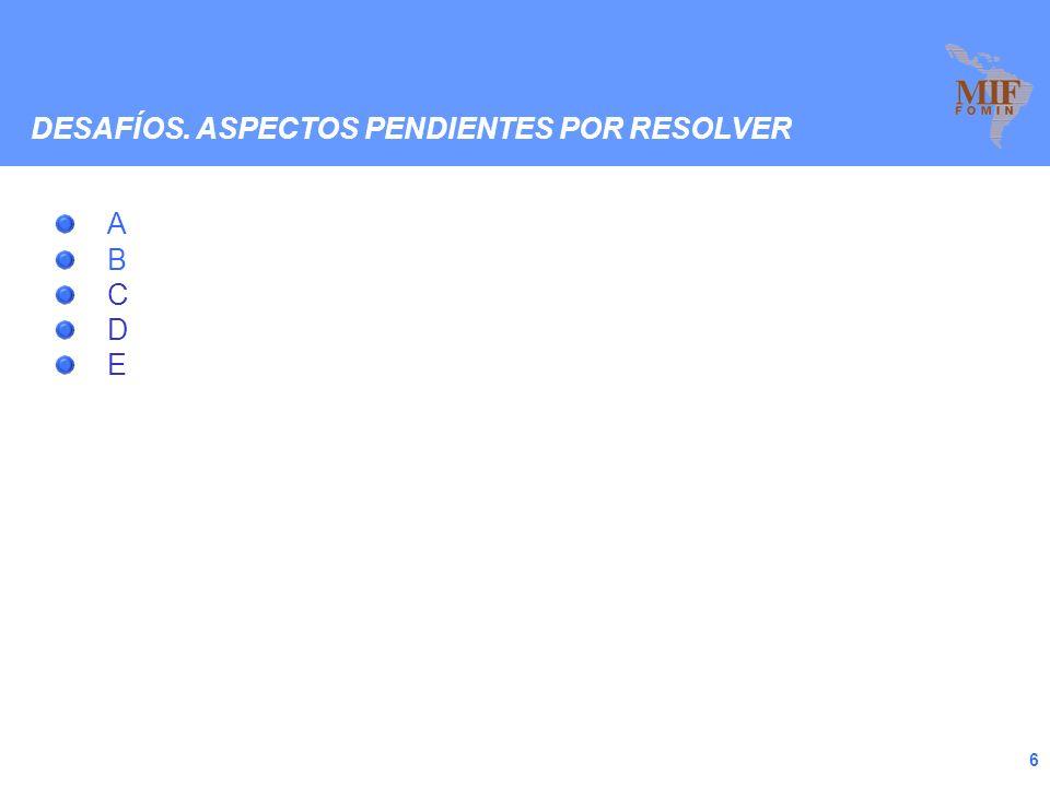 6 A B C D E DESAFÍOS. ASPECTOS PENDIENTES POR RESOLVER
