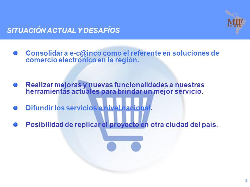 2 RESULTADOS ALCANZADOS Desarrollo de un medio de pago virtual para Bolivia – eCompras. Desarrollo de Tiendas Virtuales para las Pymes – CAINCO Store.