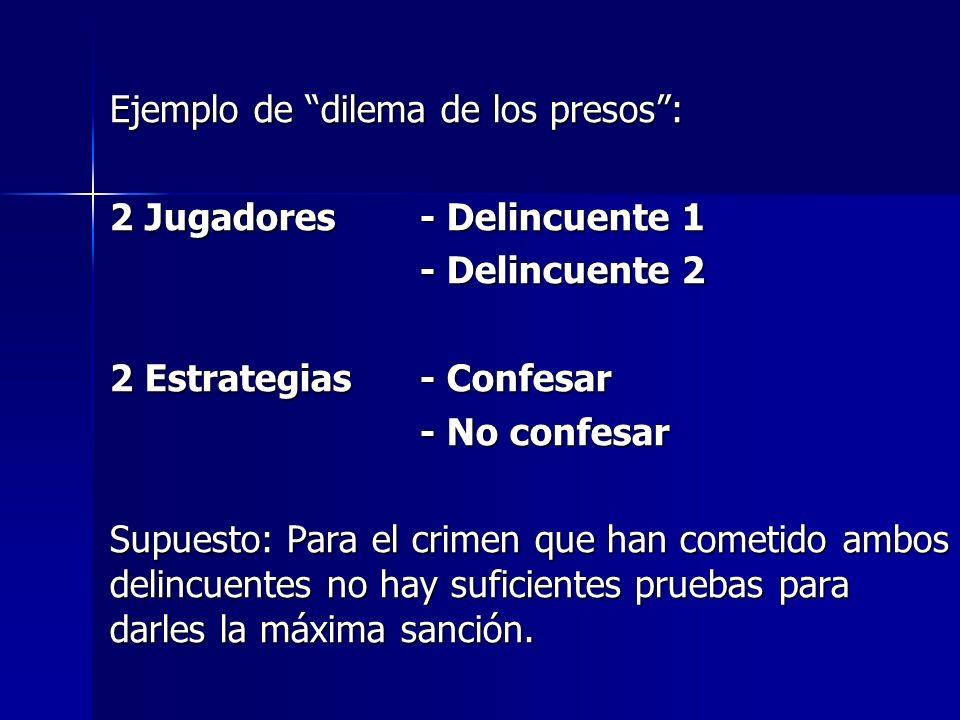 Ejemplo de dilema de los presos: 2 Jugadores - Delincuente 1 - Delincuente 2 - Delincuente 2 2 Estrategias - Confesar - No confesar - No confesar Supu