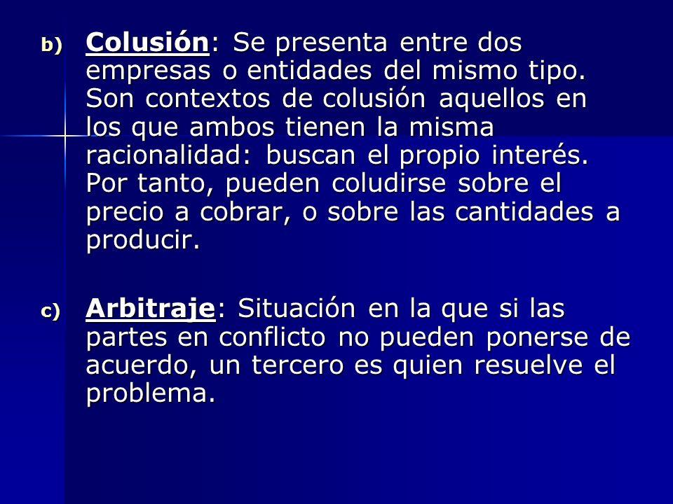 b) Colusión: Se presenta entre dos empresas o entidades del mismo tipo. Son contextos de colusión aquellos en los que ambos tienen la misma racionalid