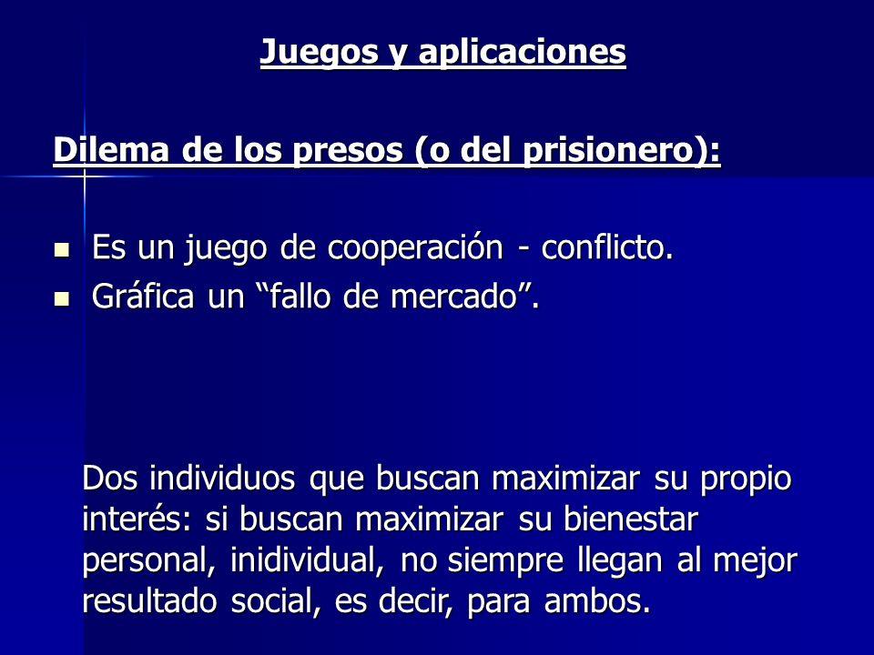 Juegos y aplicaciones Dilema de los presos (o del prisionero): Es un juego de cooperación - conflicto. Es un juego de cooperación - conflicto. Gráfica
