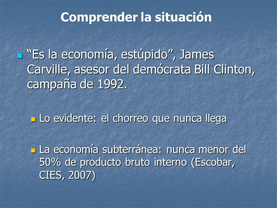 Es la economía, estúpido, James Carville, asesor del demócrata Bill Clinton, campaña de 1992.