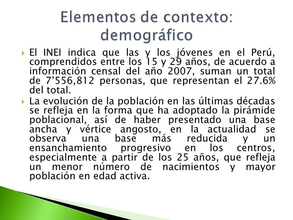 El INEI indica que las y los jóvenes en el Perú, comprendidos entre los 15 y 29 años, de acuerdo a información censal del año 2007, suman un total de