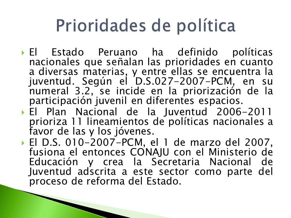 El Estado Peruano ha definido políticas nacionales que señalan las prioridades en cuanto a diversas materias, y entre ellas se encuentra la juventud.
