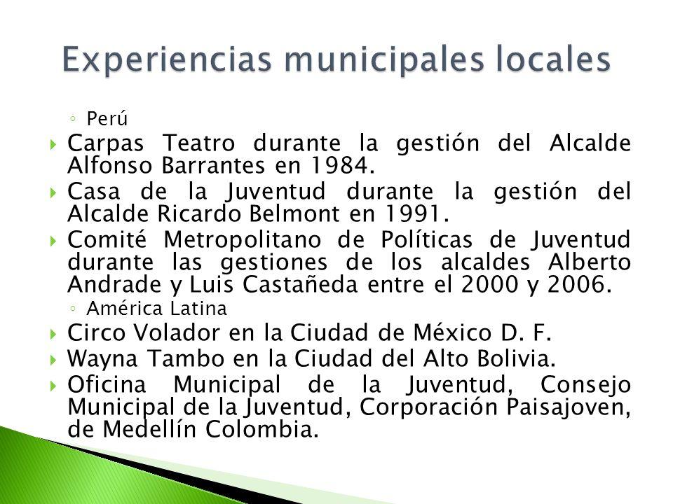 Perú Carpas Teatro durante la gestión del Alcalde Alfonso Barrantes en 1984. Casa de la Juventud durante la gestión del Alcalde Ricardo Belmont en 199