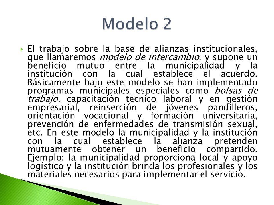 El trabajo sobre la base de alianzas institucionales, que llamaremos modelo de intercambio, y supone un beneficio mutuo entre la municipalidad y la in