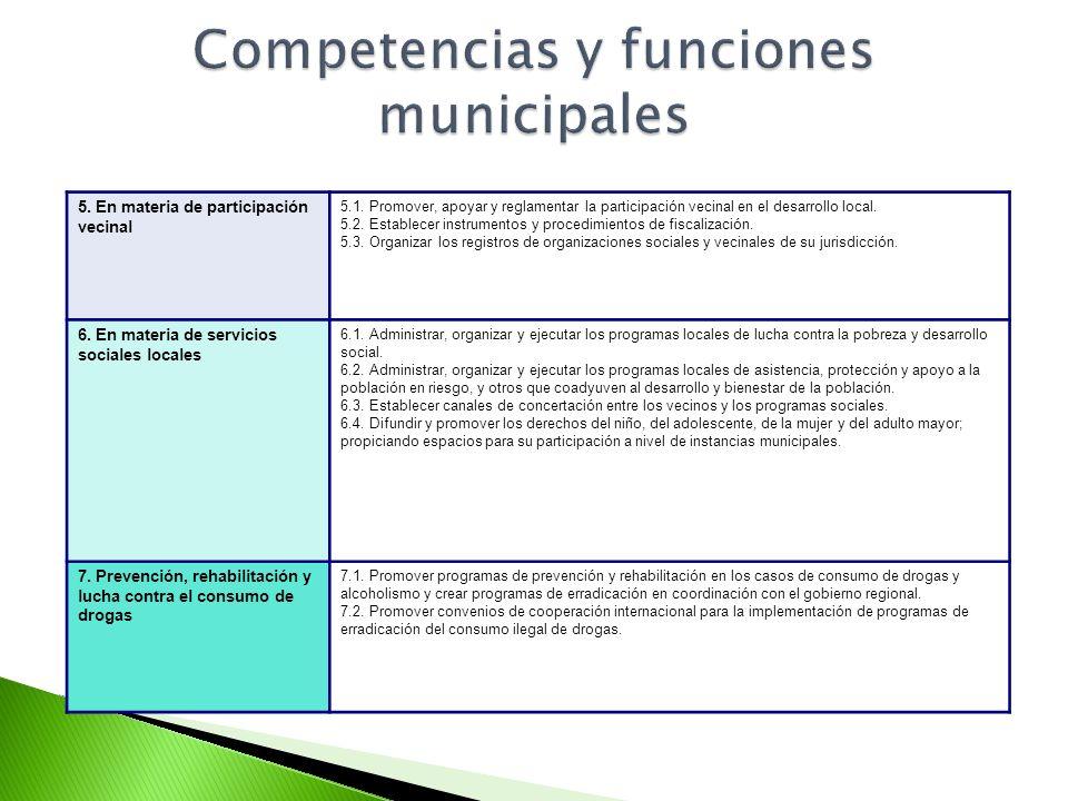 5. En materia de participación vecinal 5.1. Promover, apoyar y reglamentar la participación vecinal en el desarrollo local. 5.2. Establecer instrument