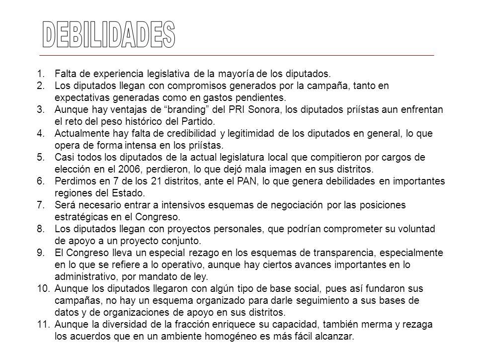 1.Falta de experiencia legislativa de la mayoría de los diputados. 2.Los diputados llegan con compromisos generados por la campaña, tanto en expectati