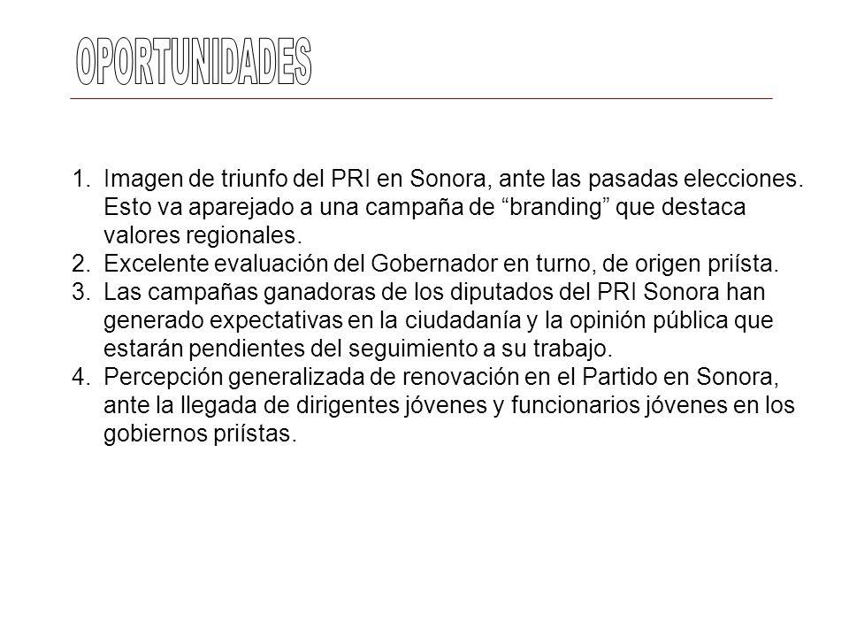 1.Imagen de triunfo del PRI en Sonora, ante las pasadas elecciones. Esto va aparejado a una campaña de branding que destaca valores regionales. 2.Exce