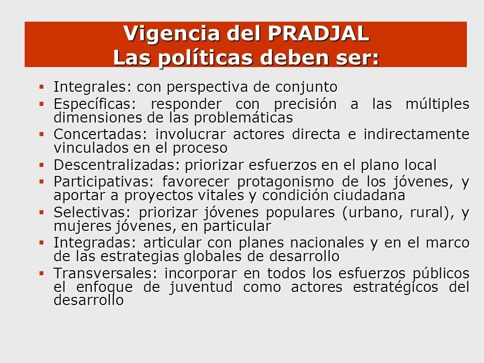 Vigencia del PRADJAL Las políticas deben ser: Integrales: con perspectiva de conjunto Integrales: con perspectiva de conjunto Específicas: responder c
