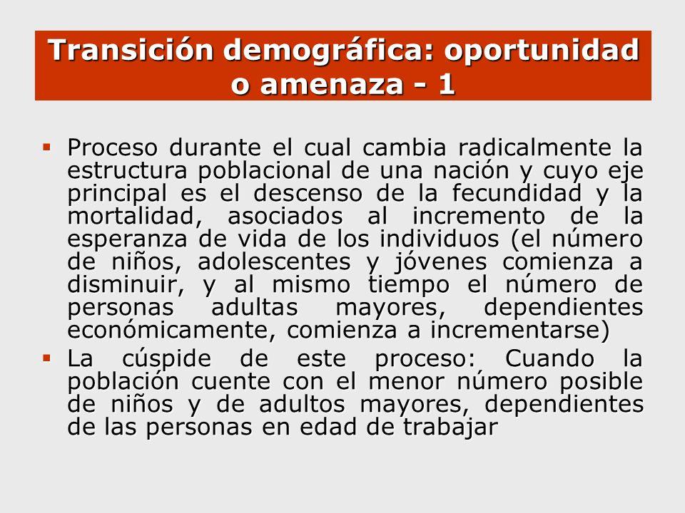 Transición demográfica: oportunidad o amenaza - 1 Proceso durante el cual cambia radicalmente la estructura poblacional de una nación y cuyo eje princ