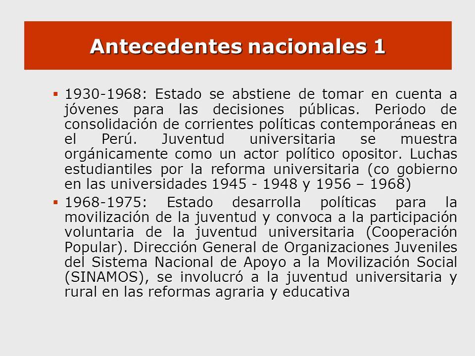 Antecedentes nacionales 1 1930-1968: Estado se abstiene de tomar en cuenta a jóvenes para las decisiones públicas. Periodo de consolidación de corrien
