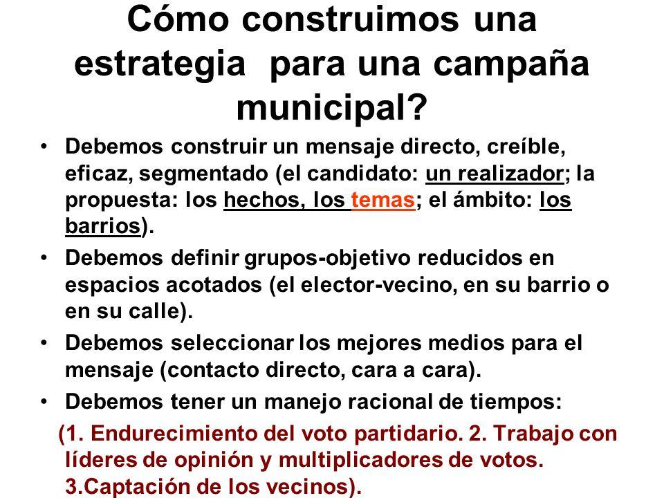¿Cómo es una campaña municipal? El mensaje es más pragmático que ideológico (0fertas concretas). El mejor medio es el contacto directo. El mejor grupo