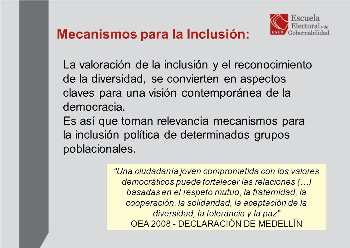 Tipo de mecanismos de inclusión: Las Cuotas: Se refieren a la reserva de posiciones para un determinado grupo poblacional.