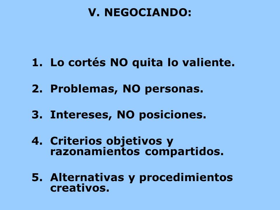 V. NEGOCIANDO: 1.Lo cortés NO quita lo valiente. 2.Problemas, NO personas. 3.Intereses, NO posiciones. 4.Criterios objetivos y razonamientos compartid