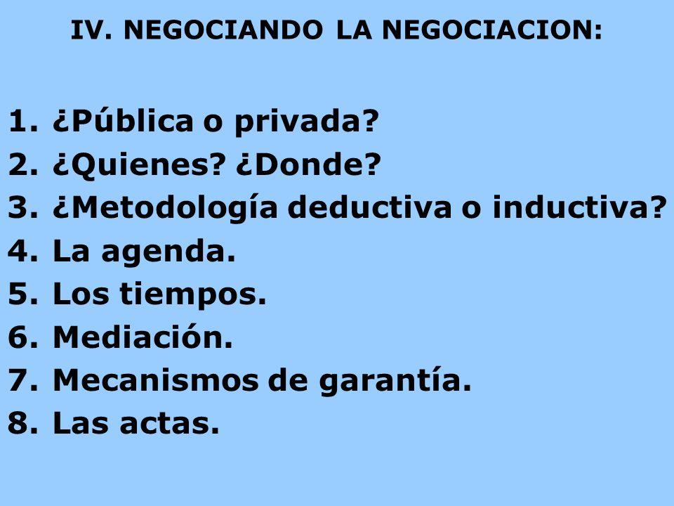 IV. NEGOCIANDO LA NEGOCIACION: 1.¿Pública o privada? 2.¿Quienes? ¿Donde? 3.¿Metodología deductiva o inductiva? 4.La agenda. 5.Los tiempos. 6.Mediación